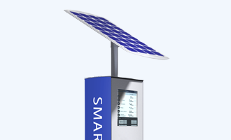 top half of CHK Connectpoint SmartStop showing 13-inch Digital Bus Stop and large solar panel