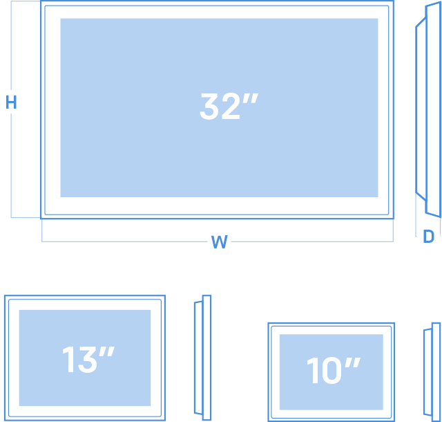 physical dimensions of Digital Bus Stop models