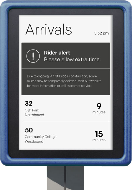 solar-powered Digital Bus Stop displaying real-time transit information with service alert
