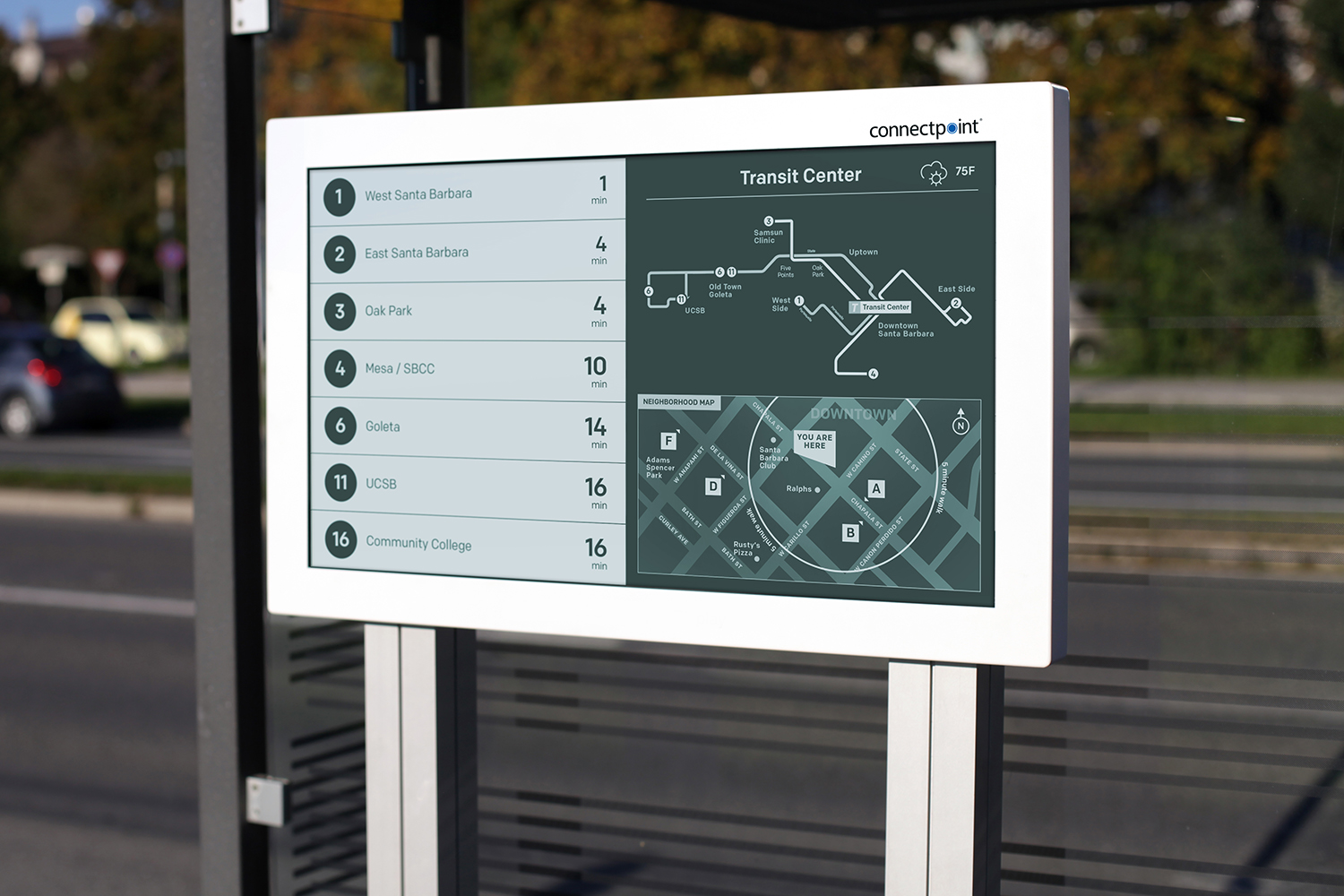32-inch Digital Bus Stop are suitable for shelters with ample room for maps and large text