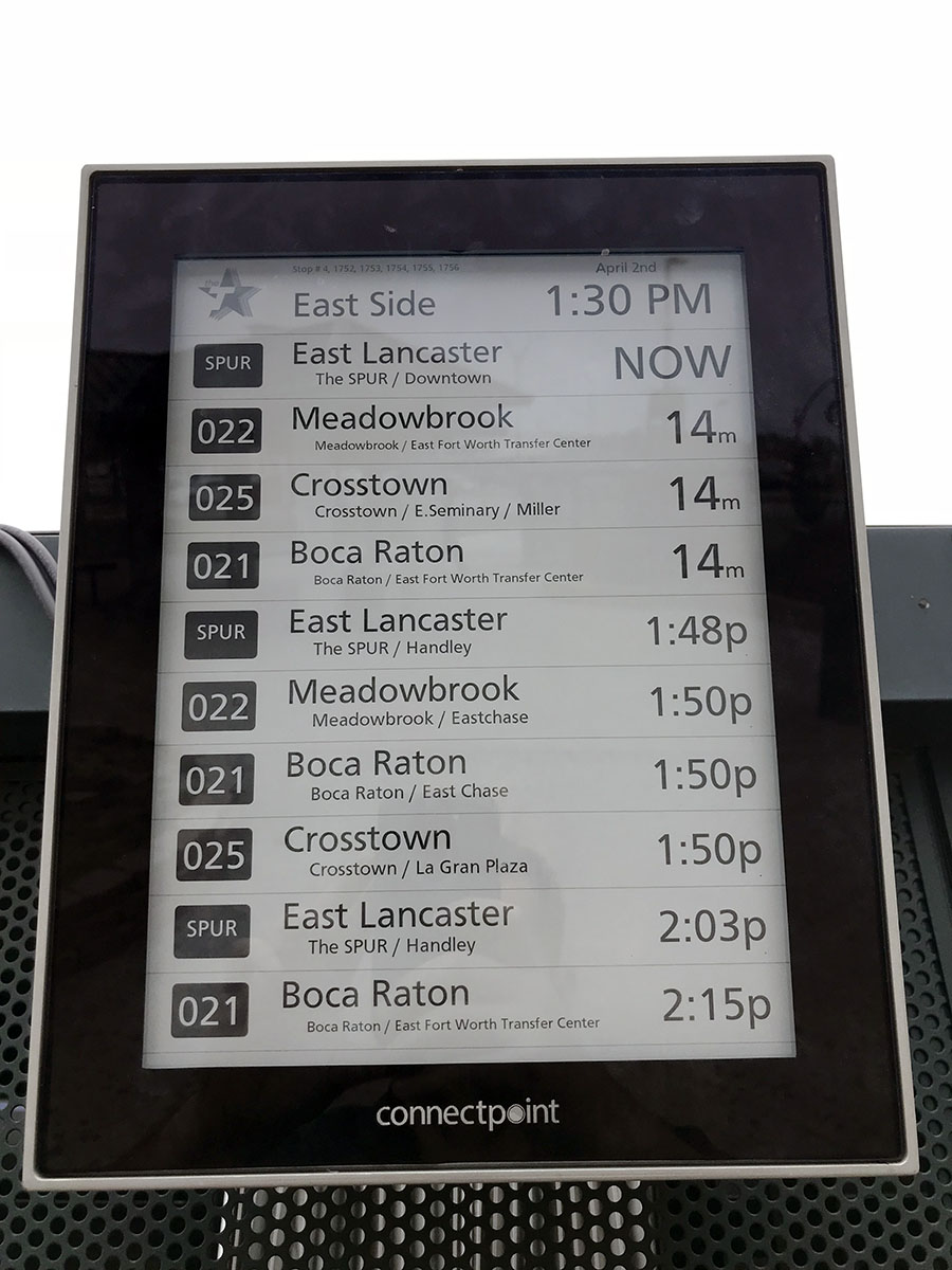 Digital Bus Stop unit at East Side Transfer Center