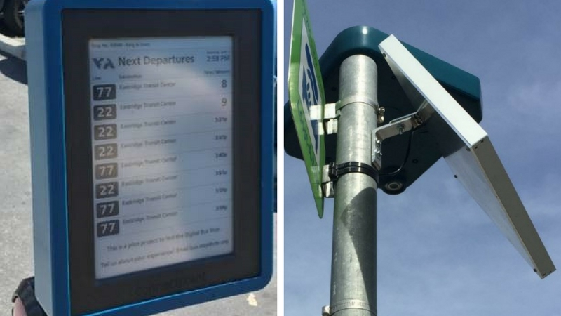 VTA Photo: Digital Bus Stop unit mounted with a solar panel at a VTA bus stop in San José