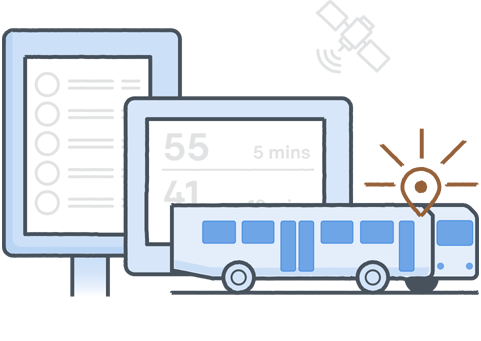 illustration of bus with real-time tracking and information displayed on Digital Bus Stop