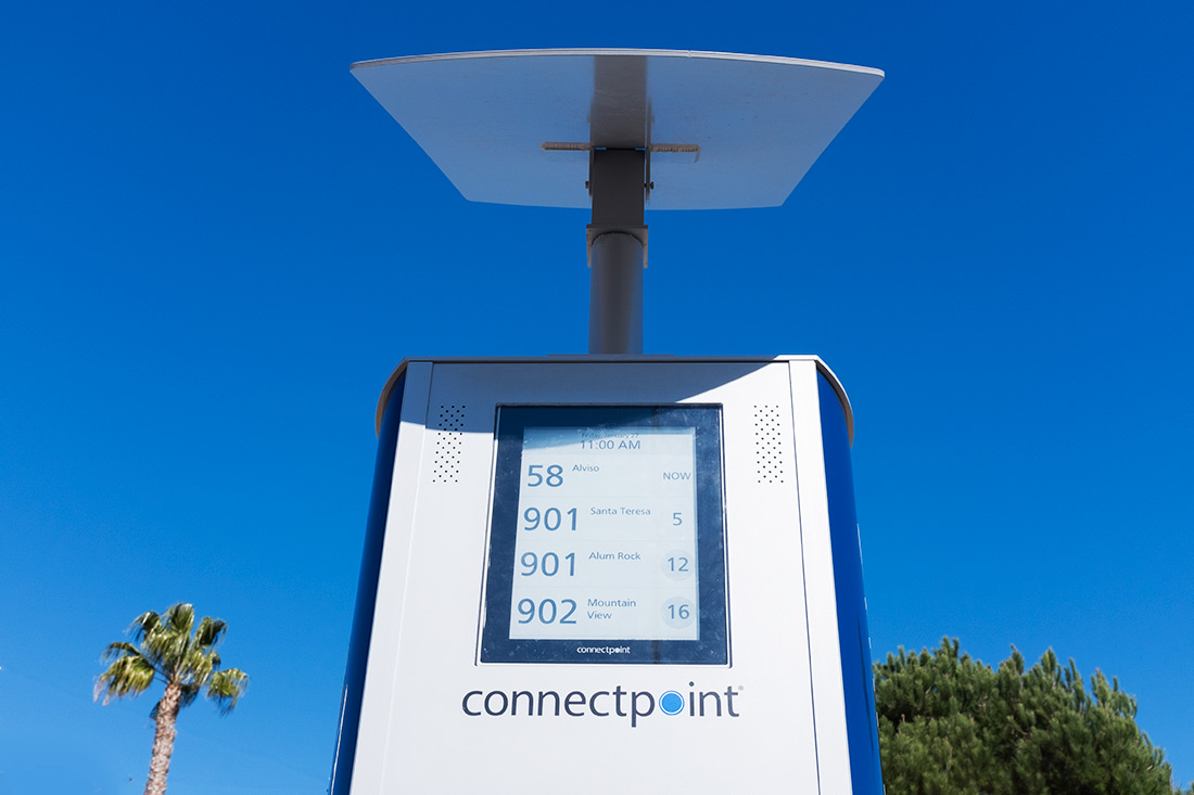 13-inch e-paper display in direct sunlight and solar panel on top of the SmartStop