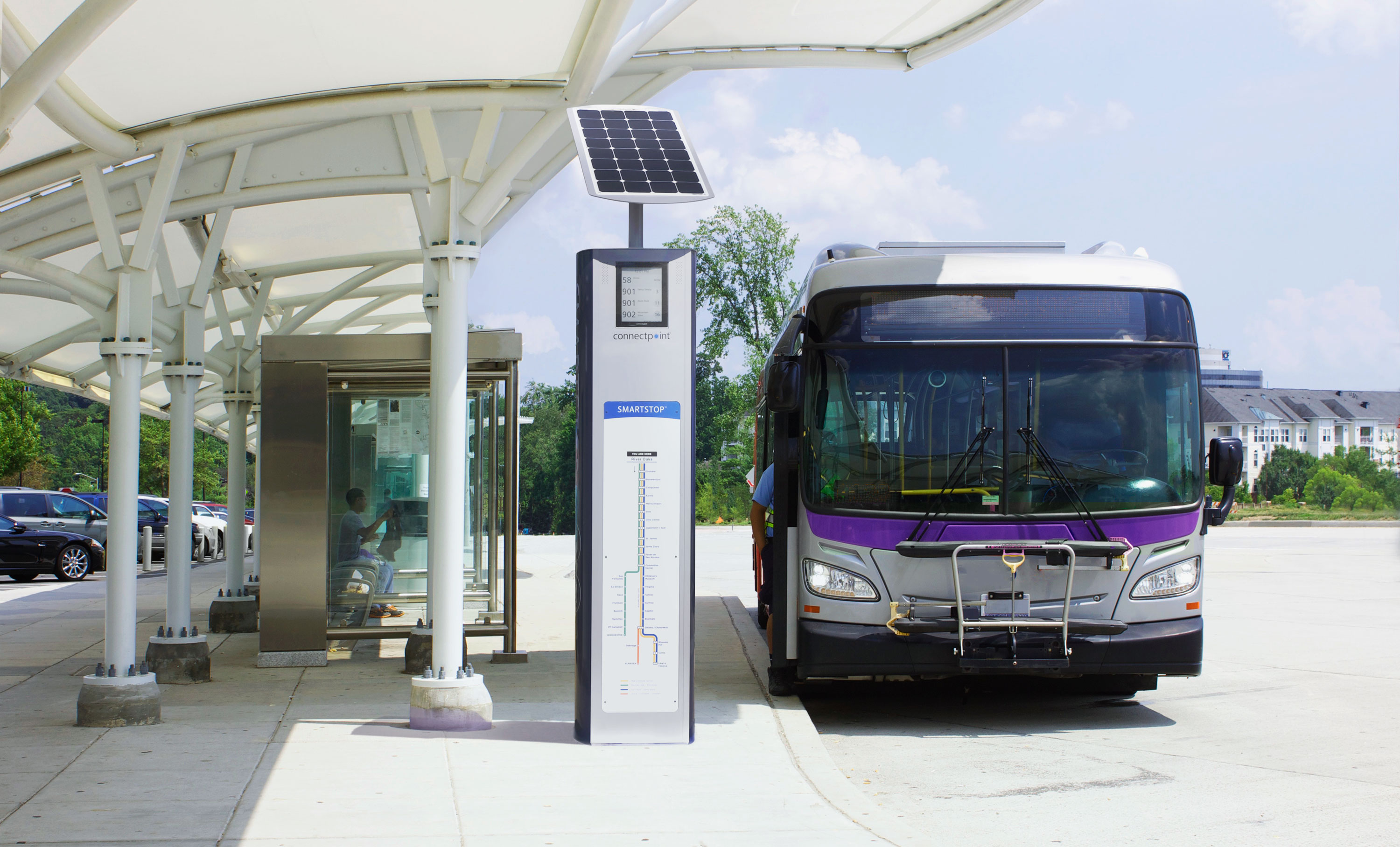 SmartStop in an outdoor transit center environment